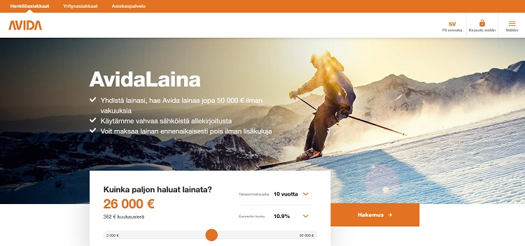 Avida Finans kulutusluotto 2000-50.000€