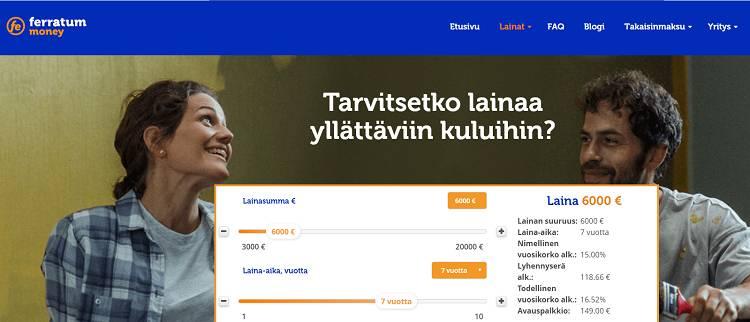 Ferratum Prime lainaa 3000-20.000 euroa